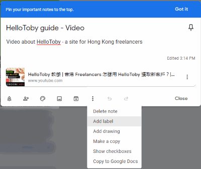 Add Label to Existing Note (Google Keep)