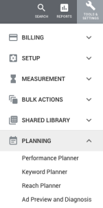 AdWords Menu - Tools & Settings - Planning