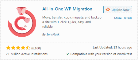 (Search result) All-in-one WP Migration plugin
