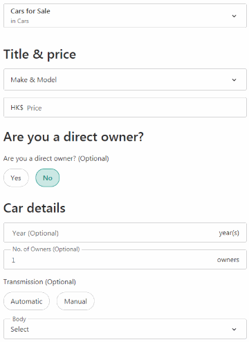 car selling form part 1 (on Carousell)