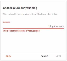 Create blog URL (Google Blogger)