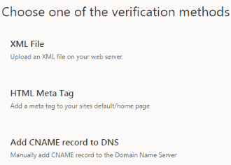 Choose Verification Methods (in Bing Webmaster Tools)