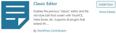 Classic Editor search results