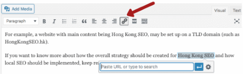 Click Add hyperlink icon (WordPress post)