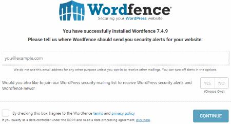 Enter Email Wordfence Alerts