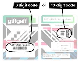 Giffgaff Activation Code (6-digit or 13 digit)