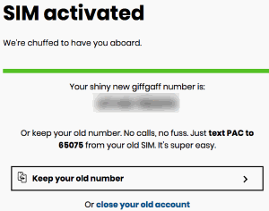 Giffgaff number received (SIM card activated)
