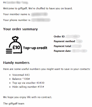 Giffgaff SIM Card - Purchased & Payment Confirmation