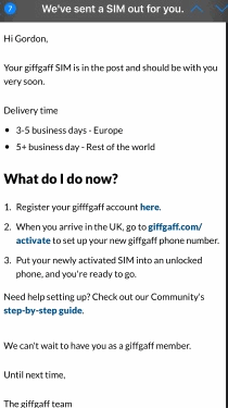 Giffgaff SIM Ordered Email Autoreply