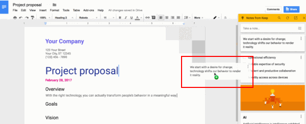 integrate with Google Doc - Drag Notes