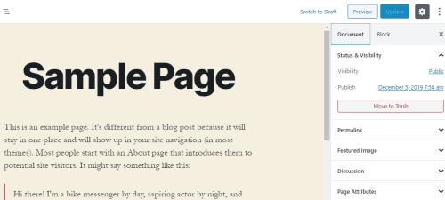 Gutenberg Editor Page (WordPress)