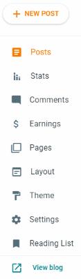 Google Blogger, Click +NEW POST