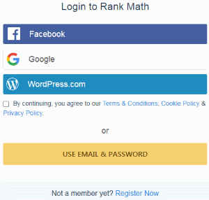 Login/register Rank Math Account