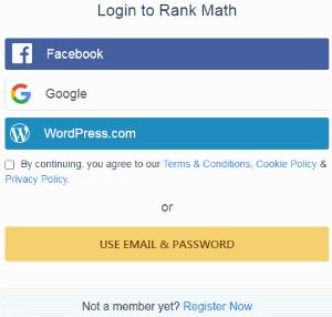Login/register Rank Math Account