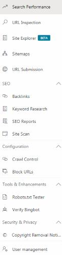 Main Navigation (in Bing Webmaster Tools Account)