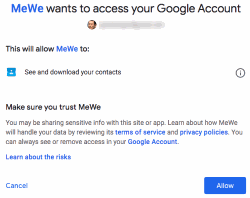 MeWe - Grant access to Google Account
