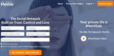 MeWe Social Media Site Homepage