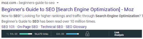 Mozbar Google Results (PA & DA)