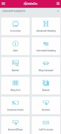 OceanWP Elements (of Elementor Plugin in WordPress)