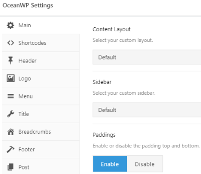 OceanWP Settings - Ocean Extra Plugin