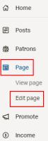 Page edit page menu
