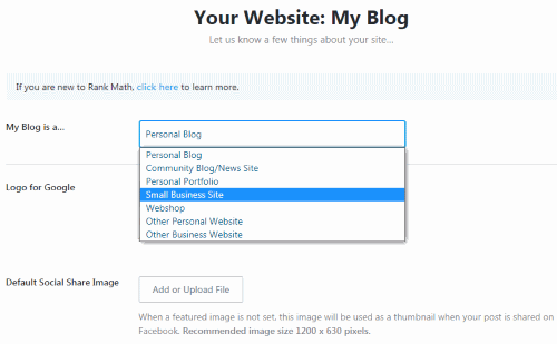 Choose Website Type (Rank Math Setup)
