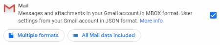 Select Gmail to Export with Google Takeout