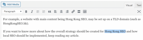 Select text in article (WordPress post)