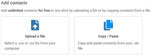 Add Contacts Options (SendInBlue)