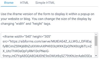 SendInBlue form code iFrame
