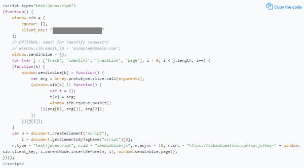 SendInBlue JS Tracking Code