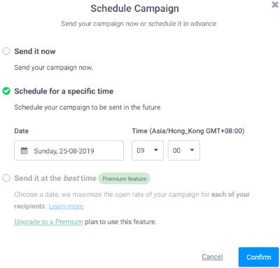 Schedule Campaign (SendInBlue)