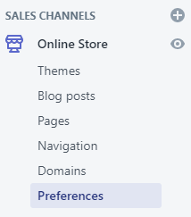 Shopify Online Store Preferences