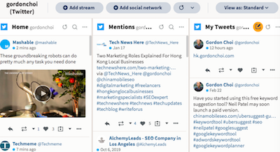 Streams Dashboard (Twitter Tweets) in Hootsuite